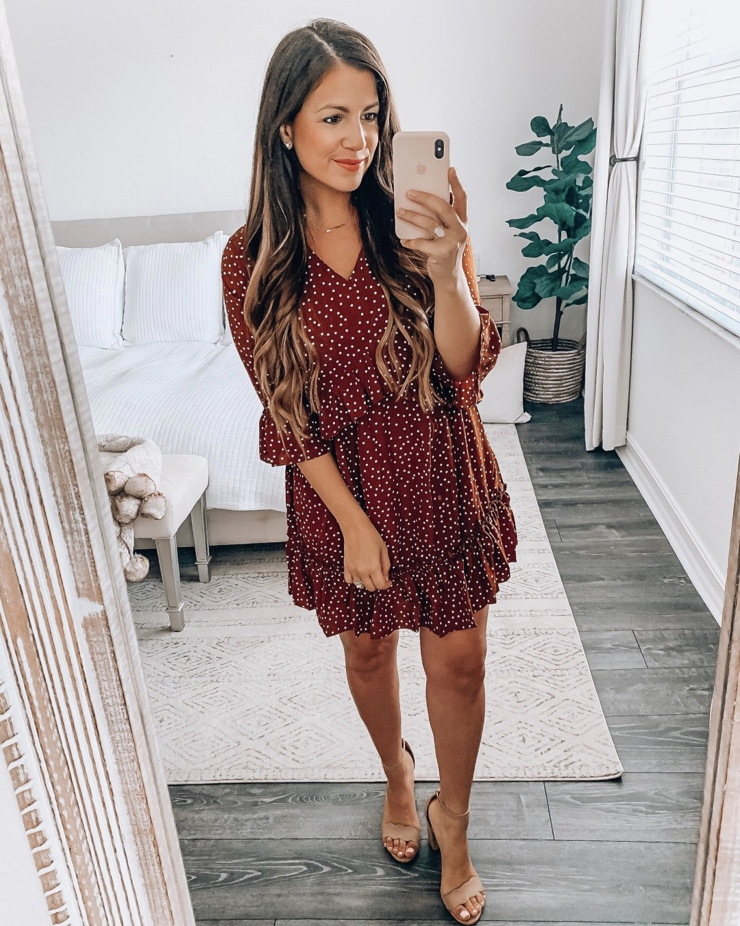 Amazon Fashion brown polka dot dress