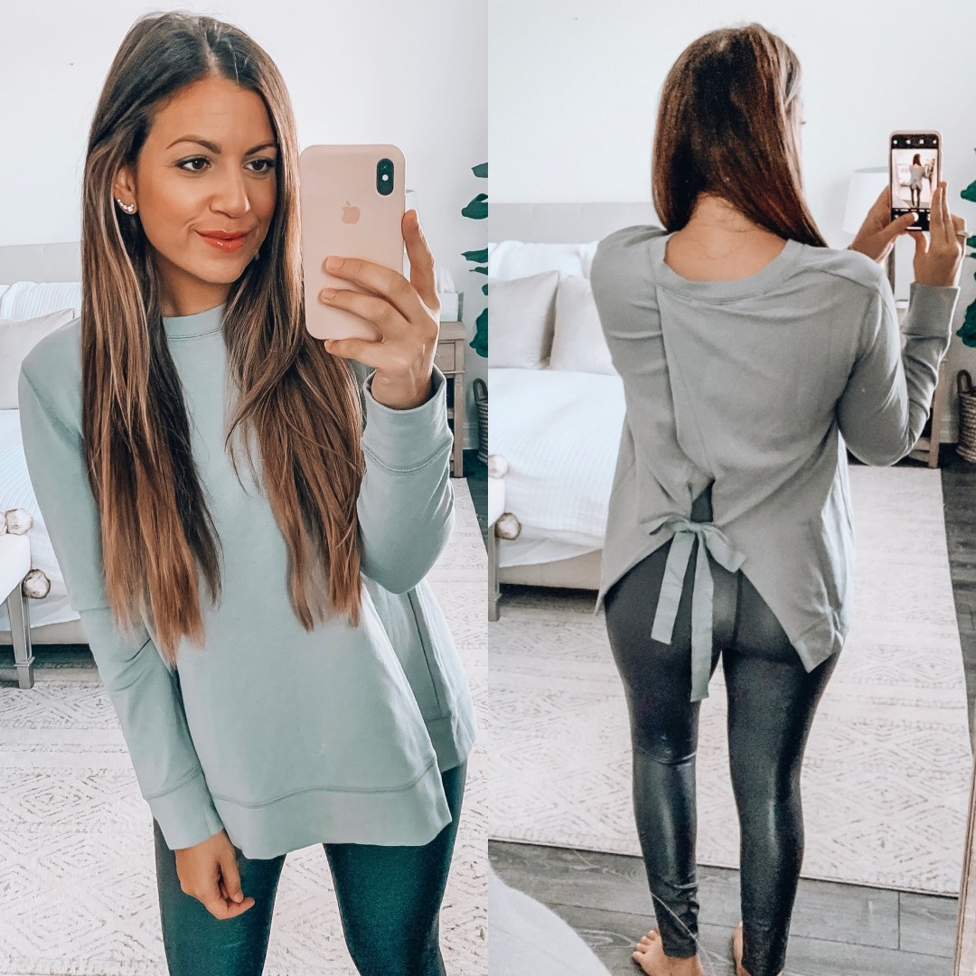 Amazon Fashion Daily Ritual Sweater grey, bow back sweater, casual chic fall outfit, high waisted takara leggings, Carbon 38 Takara legging