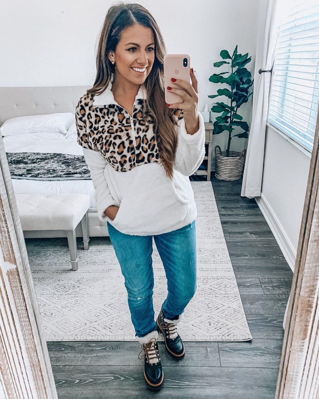 Amazon leopard fleece pullover