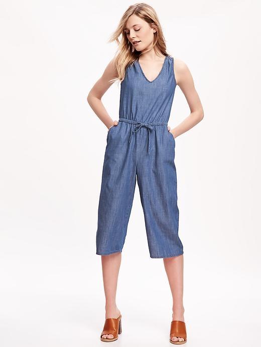 Wide-Leg Chambray Romper for Women