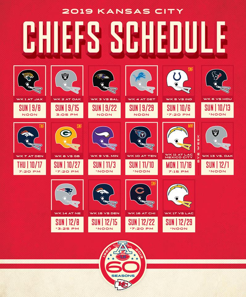2019 Kc Chiefs Schedule 2019 Regular Season Schedule Finalized; Chiefs to Celebrate 60th