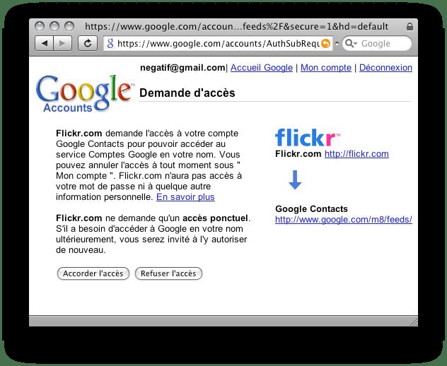 [Capture d'écran de Gmail, demande de l'autorisation d'accéder aux contacts]