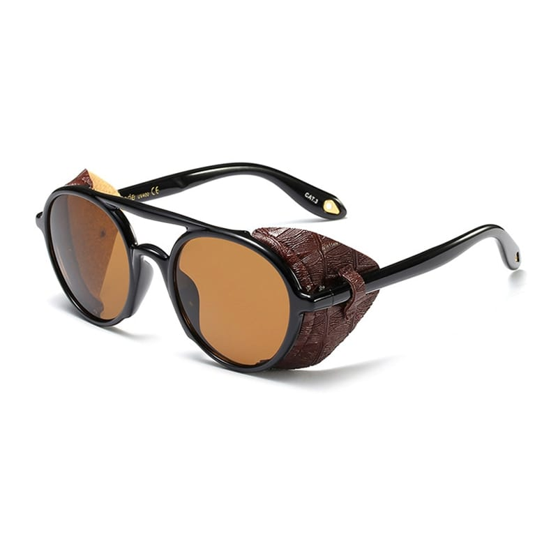 KEITHION Steampunk Men Sunglasses With Side Shields 2019 Summer Style Leather Round Sun Glasses Women Retro UV400