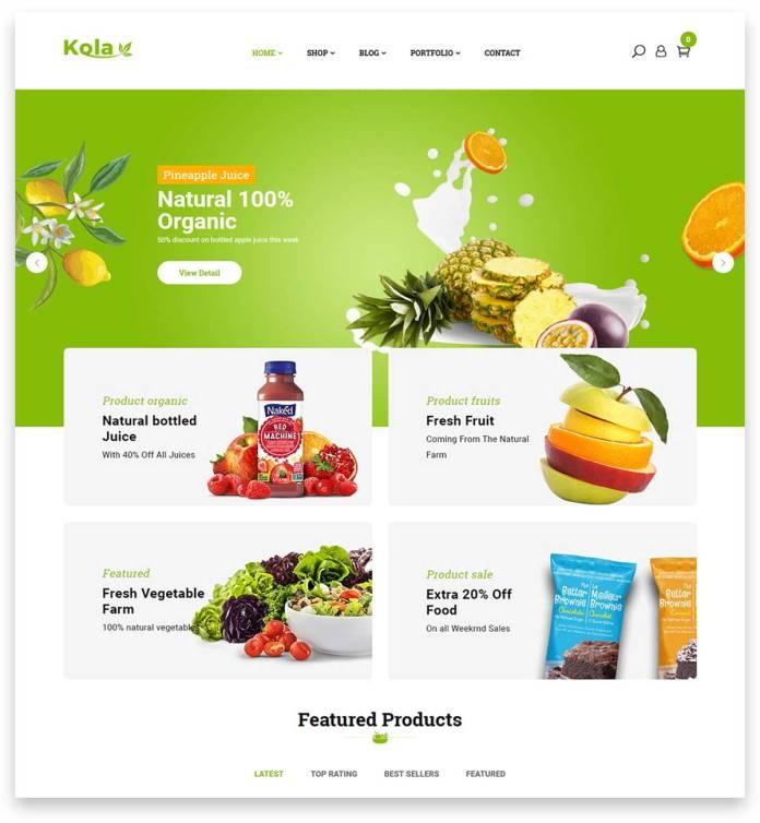 Kola is the perfect WordPress theme for creating Organic & Food WooCommerce online shop website