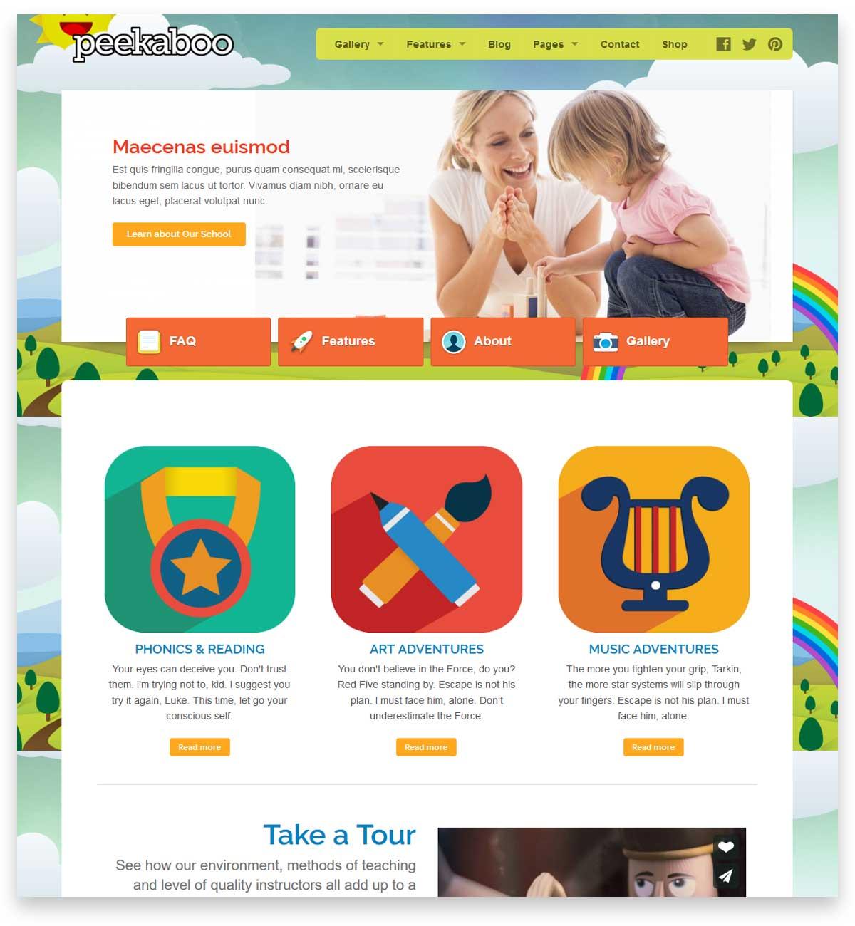 Peekaboo - Children WordPress Theme for building the website of the school and kindergarten.