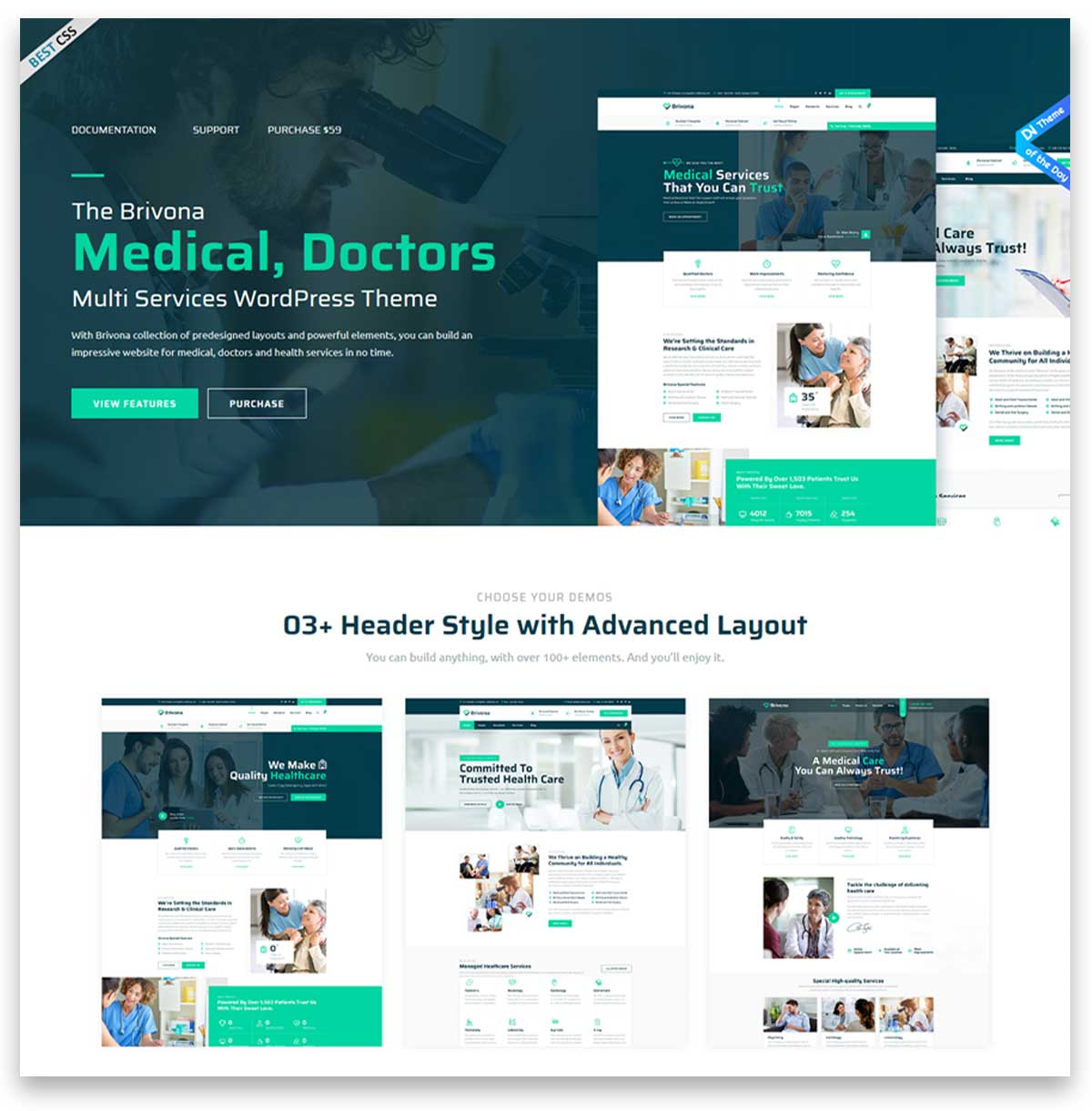 medical clinic hospital wordpress theme