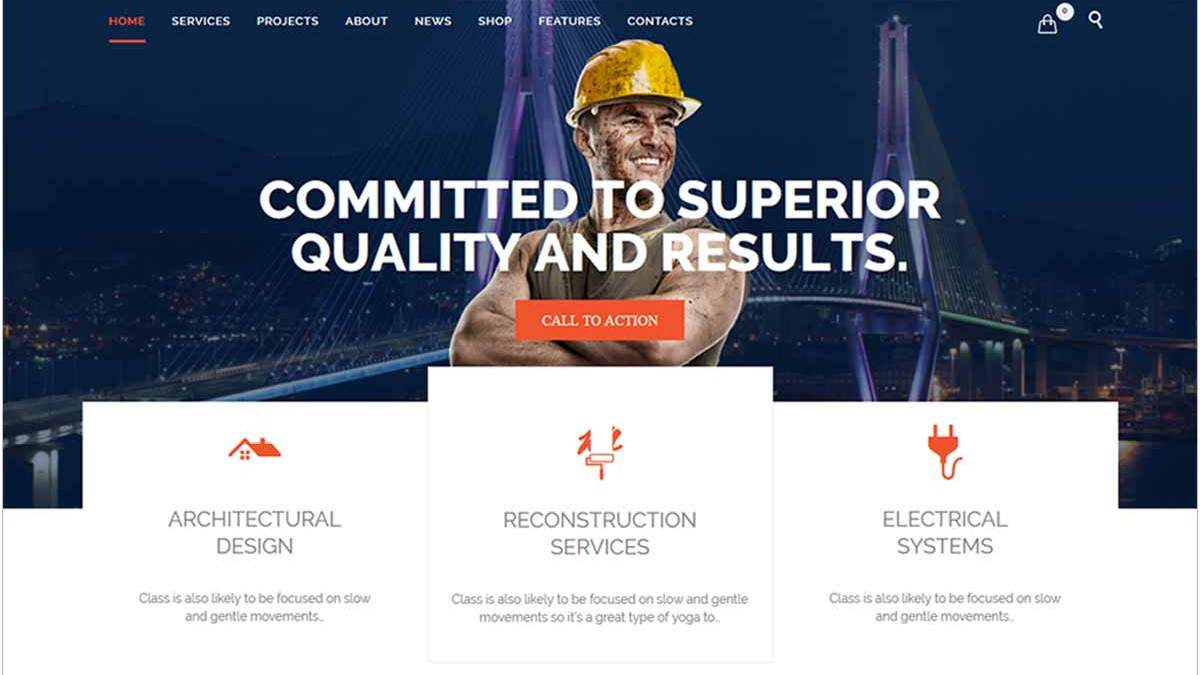Wonderful WordPress Construction Company Templates for Builders, Contractors, Architectures and Construction Agencies Websites