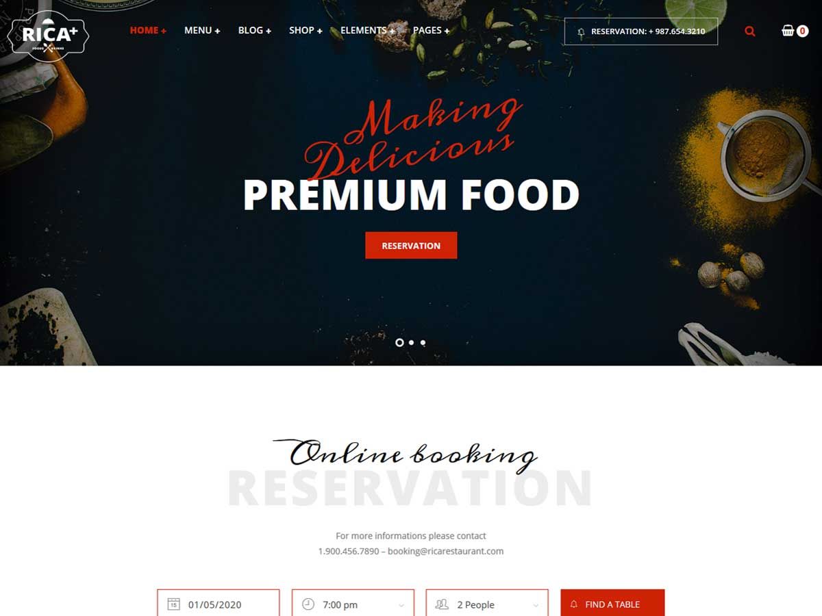 Rica - A Delicious Restaurant & Pub WP Theme