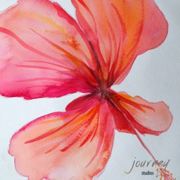 More hibiscus. Wish I could find a way to get more abstract with watercolor? Oh well. It's pretty