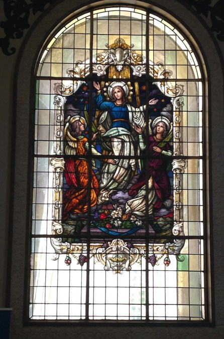 One of the many stained glass windows at the Basilica of our Lady of the Angels