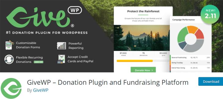 GiveWP free popular WordPress donation plugin