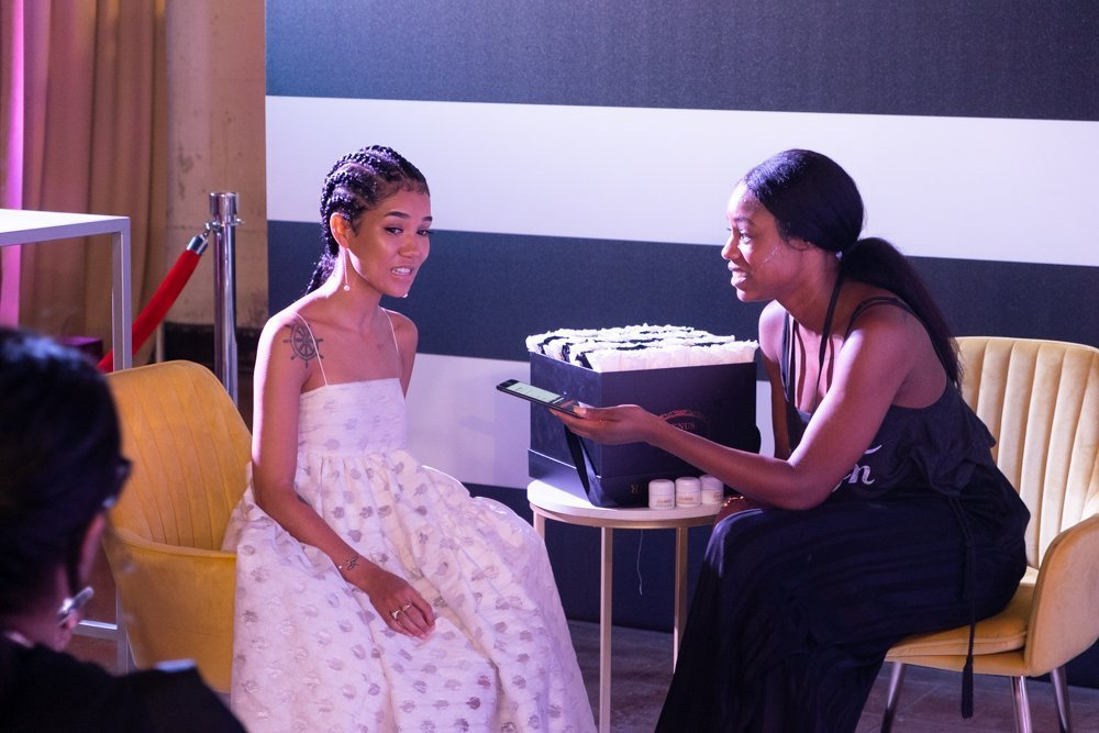 Jhené Aiko give interview in Press Lounge