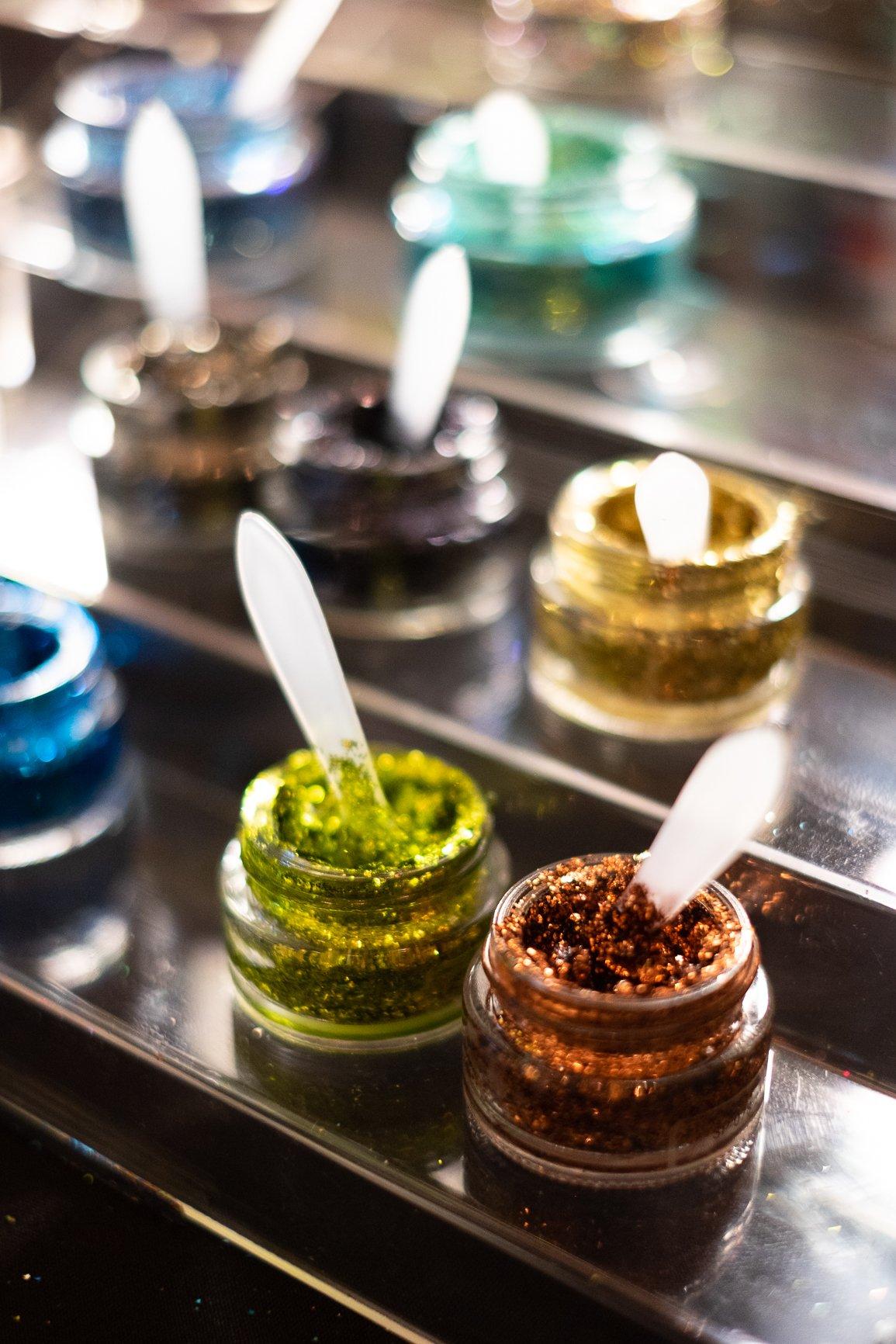 sparkling glitter makeup jars