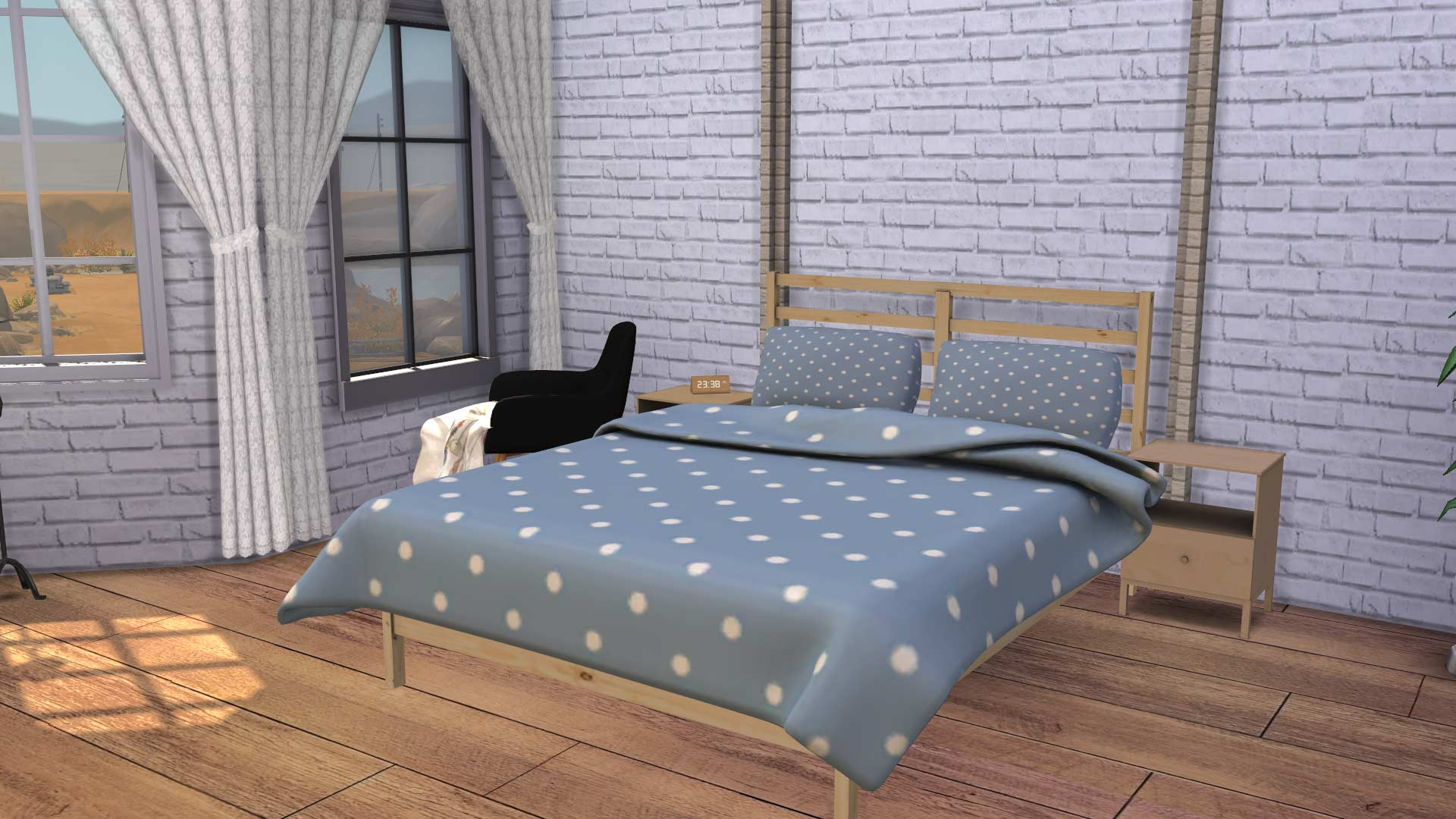 Ikea Tarva Bed with Blanket & Pillow, high quality sims 4 cc, sunkissedlilacs, free sims 4 furniture, sims 4 custom content,