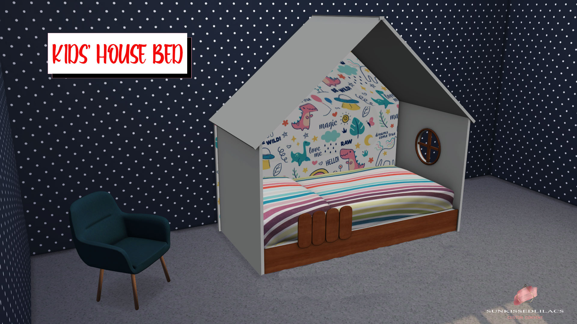 Kids' House Bed, high quality sims 4 cc, sunkissedlilacs, free sims 4 furniture, sims 4 cc,