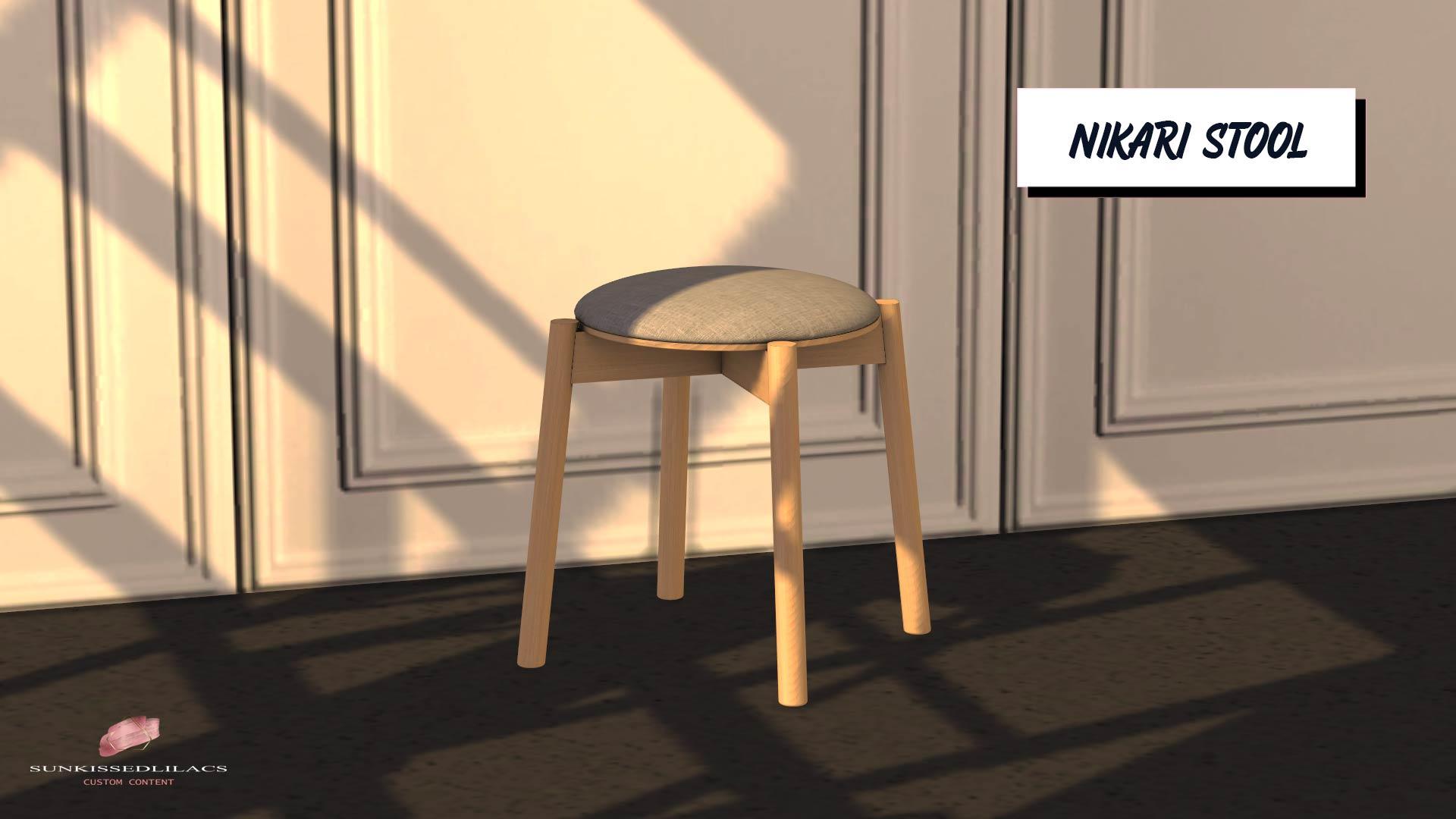 Nikari Stool, high quality sims 4 cc, sunkissedlilacs, free sims 4 furniture, sims 4 custom content,