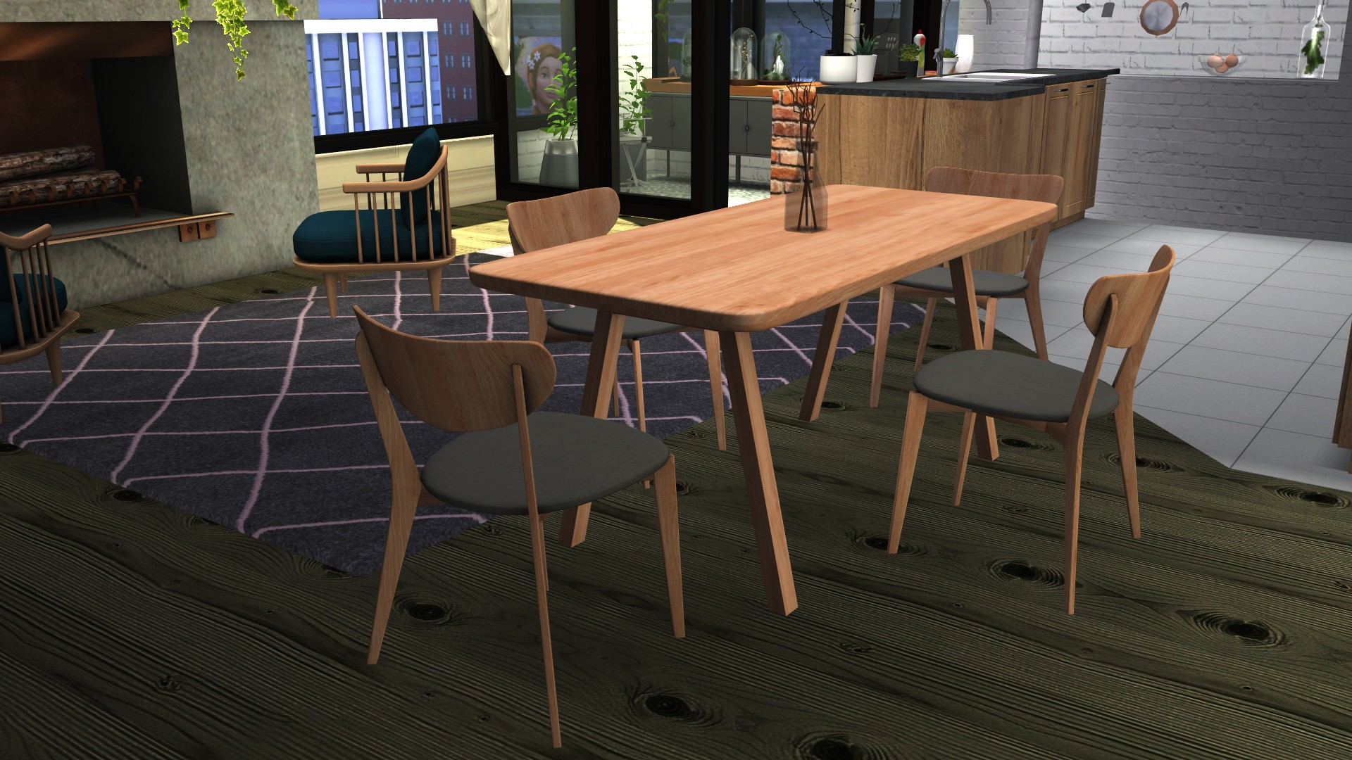 Stelvio Dining Table & Scandi Chair, high quality sims 4 cc, sunkissedlilacs, free sims 4 furniture, sims 4 custom content,