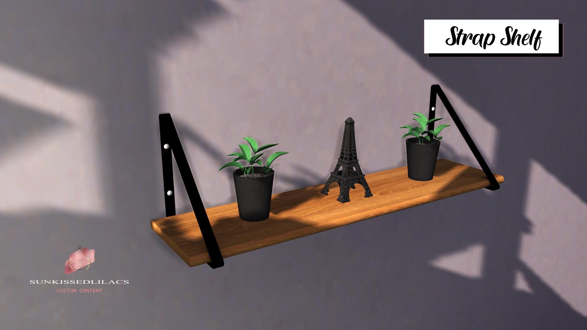 Strap Shelf, high quality sims 4 cc, sunkissedlilacs, free sims 4 decor, sims 4 custom content,