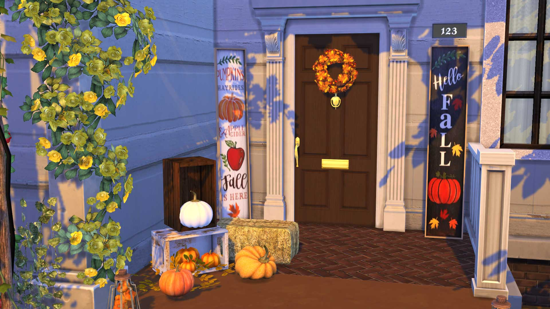 Fall Porch Signs, high quality sims 4 cc, sunkissedlilacs, free sims 4 furniture, sims 4 custom content,