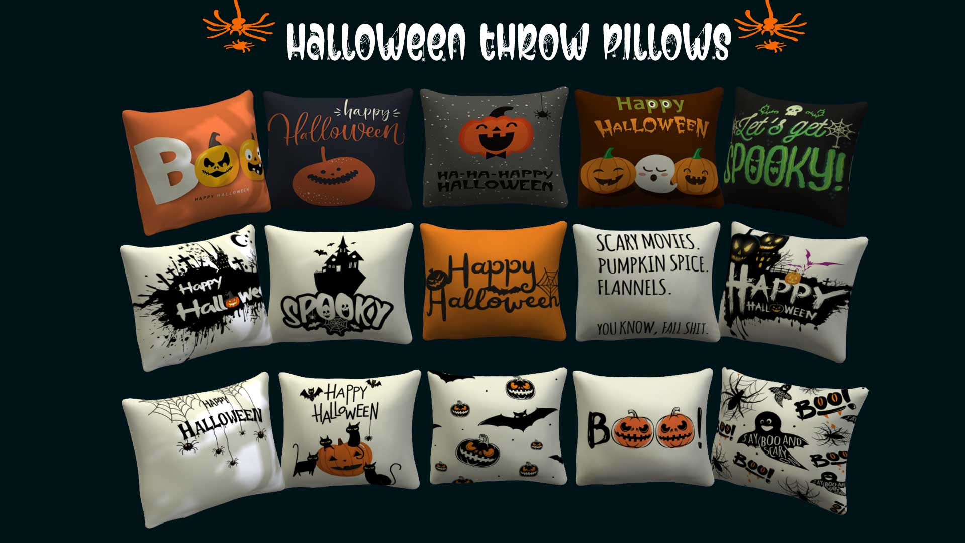 Halloween Throw Pillows, high quality sims 4 cc, sunkissedlilacs, free sims 4 furniture, sims 4 custom content,