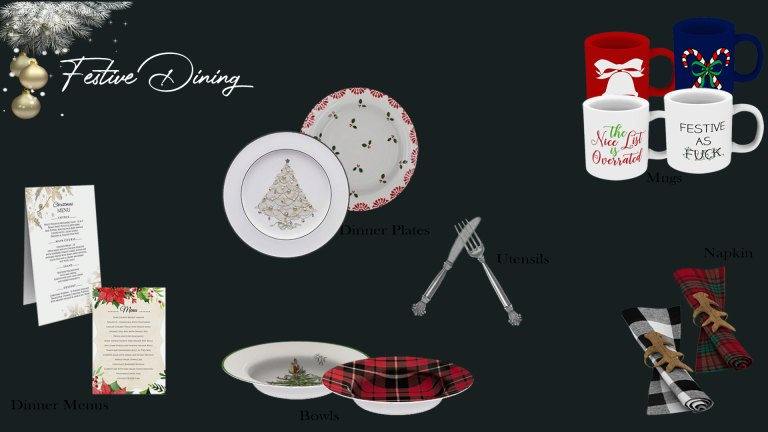 Festive Dining, high quality sims 4 cc, sunkissedlilacs, free sims 4 furniture, sims 4 custom content,