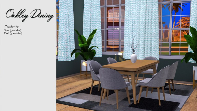Oakley Dining, high quality sims 4 cc, sunkissedlilacs, free sims 4 furniture, sims 4 custom content,