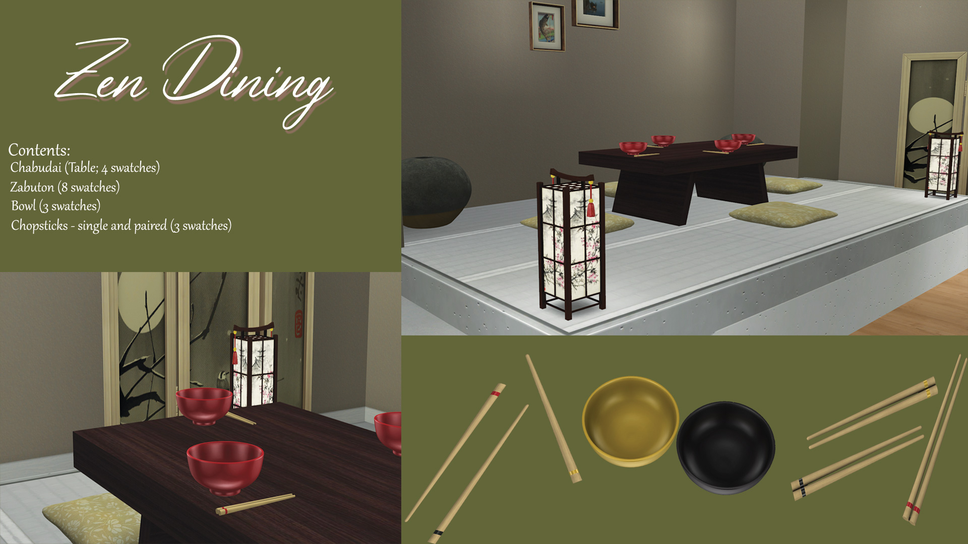 Zen Dining, high quality sims 4 cc, sunkissedlilacs, free sims 4 furniture, sims 4 custom content,