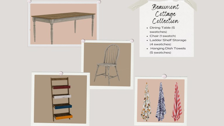 Beaumont Cottage Collection, high quality sims 4 cc, sunkissedlilacs, free sims 4 furniture, sims 4 custom content,
