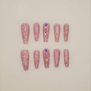 Holographic Glitter with Bling Press On Nails - Lavender