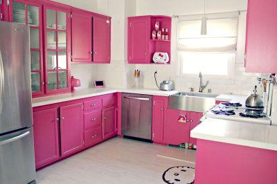 Darling pink kitchen via A Beautiful Mess