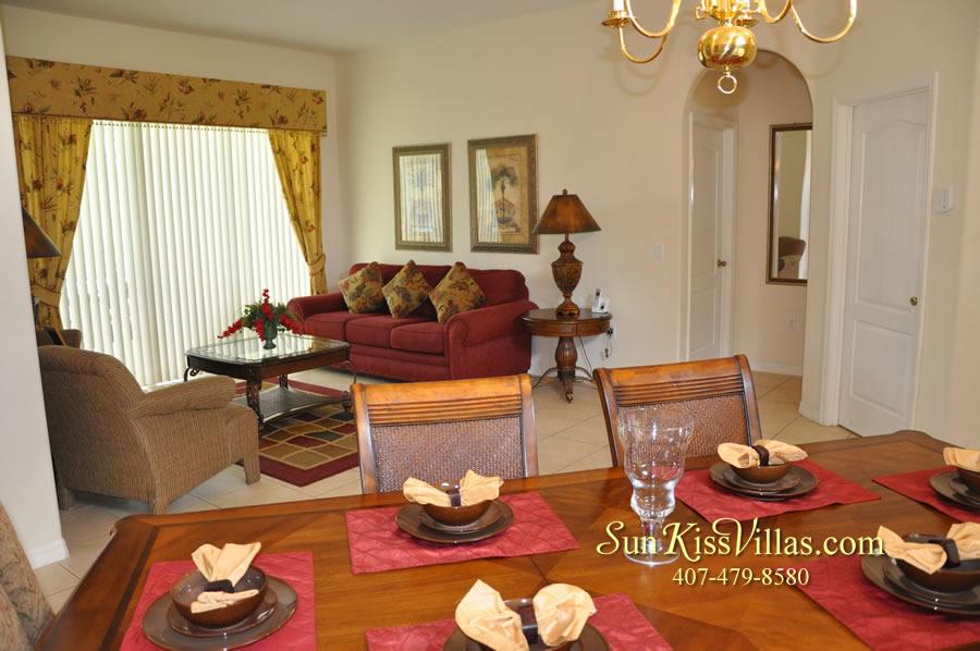 Disney Villa Rental - Heron Bay - Dining and Living Room