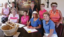 The 2014 Cancer Tournament committee: Back row (left to right) Anita Barber, Sandy Eeds, Chairperson Carolyn Tagetz, Gwen Curtis and Kathy Jones; front row (left to right) Pat Florence, Ann Hammond, Cindy Bosch and Janet Baron.