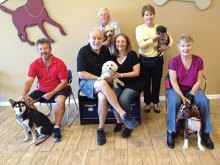 Pictured left to right: first row: JC Curtin with Bella, Klass and Antionette De Waal with Phoenix and Shirley Claridge with Buddy; second row: Paul Koehler with Ted and Connie Koehler with Duffy.