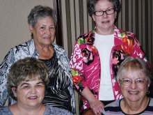 Winners pictured (seated left to right) first place Gerri Deublein, second place Karen Ryan, (standing left to right) third place (tie) Betty Perry and Carolyn Rogers. Rita Stadler and Sandy Bealmear were winners of the cash drawings.