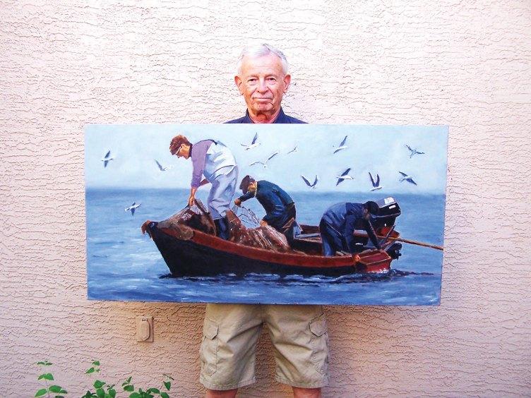 "Bob Kwait with his painting ""Three Fishermen."""