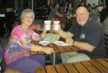 Paula and Wade Cunkelman of Cruise Planners enjoy a Rudesheimer Coffee in Germany.