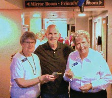 Casino 50/50 winner was Bill Farrar of Sun Lakes who won $459. Shown on the left is past President Lion Ruth Palmer with President Lion Pat Hollander on the right (picture courtesy of Lion Larry Palmer).