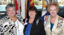 Pictured left to right are Gila Butte Vice Regent Lesley Baran, Regent Barbara Hugus and State Corresponding Secretary Antoinette Lutter