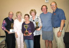 Pictured left to right are John Euler, Bonnie Butler, Barbara Lubsen, Anne Newman, Eric Larson and club President Jim Utter