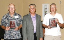 Spirit winners Ken Brenden (left) and Dennis LePore (right) with SLSSA President Sam Giordano (center). (Photo courtesy of Core Photography).