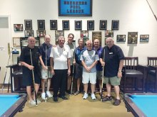 "IronOaks Breakers Pool League players are from left to right: David ""The Godfather"" Mork, Bill ""The Assassin"" Lange, Jerry ""Slick"" Vickery, and our Team Captain Keith ""The Rabbi"" McDonald; the Mission Royale Members left to right: Tom, Daryl, Steve and Tom (photo by Charlie ""Chef"" Nerko, League member)."