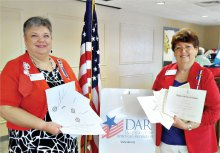 Pictured left to right are Regent Lesley Baran and Honorary Regent Barbara Hugus with a few awards.