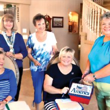 Pictured left to right - Seated: Sharon Jackley and Jane Chiles; standing Marge Nelson, Mitzi Iverson and Regent Lesley Baran.