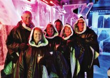 The Halls, the Antonios and the Hermanns in Stockholm Ice Bar.