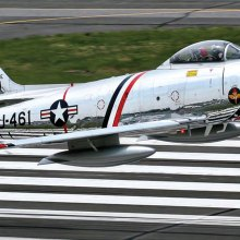 Roy Partridge will relate his experiences controlling take-offs and landings of USAF jet fighter aircraft like the F-86 Sabre Jet shown above at RAF Manston during a presentation to the Sun Lakes Aero Club Monday, February 20, at the Sun Lakes Country Club Mirror Room.