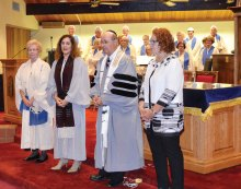 Benediction by Rabbi Wiener with, Music Director Lana Oyer, Cantor Ronda and President Wende Levy