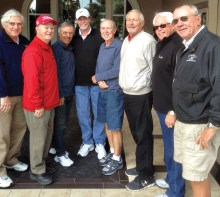 The officers and committee chairmen for 2017 (left to right) Treasurer Jim Hooyman; Vice President Craig Annis; Membership Rich Castro; Past President TH Jones; Membership Chairman Brian Keene; Handicap Chairman Dan Bogaard; President Doug Braun; and Secretary John Kolb. Missing is Tournament Chairman Aki Yasuda and Paul Dinardo, Tournaments