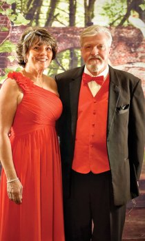 Rich Pavlak and Betty Lauer decked out in matching formal attire