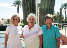 Sandy Worden, Third Flight Winner; Billie Seiberling, Overall Champion; Marilyn Mitchell, Forth Flight Winner; not shown: Penny Nowicki, First Flight Winner; and Patti Hegenbarth, Second Flight Winner