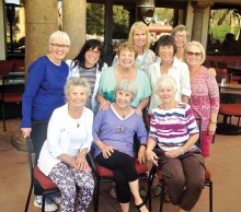 Cottonwood tennis players enjoying the patio at Palo Verde: Back row (L-R) Bernie Tighe and Linda Vogelaar,; middle row (L-R) Penny Petersen, Barb Bram, Kay Strauman, Penny Rinald and Susan Garman; front row (L-R) Cinda Sue Thorhauer, Roberta Arpan and Sue Thomas